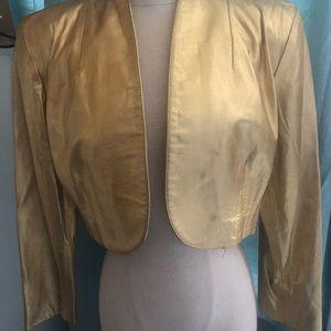 Vintage leather gold bolero style jacket